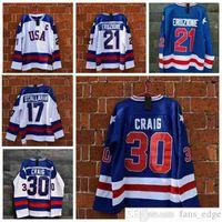 1980 Mucize Buz Takımı ABD 21 Mike Eruzione Hokey Jersey Kazak 30 Jim Craig 17 Jack Callahan Mavi Beyaz Dikişli Erkek Formalar