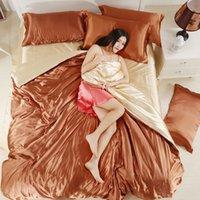 100% di buona qualità Set di biancheria da letto di seta satina piatta a colori solido Regina King Size 4 PZ Copertura piumino + foglio piatto + federa Twin Size1 737 R2