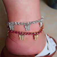 Stonefans Gold Tennis Rhinestone Jewelry for Women Crystal Butterfly Pendant Anklet Beach Foot Chain Bracelet