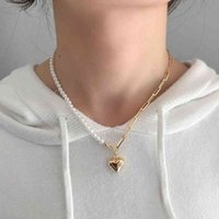 Silvology 925 Sterling Silver Assymmetry Pearl Chain Coração Originalidade Luxo Womens Pingente Colar Festival Jóias