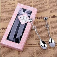 1 Pair Love Coffee favor Drinking Stainless Steel Spoon Teaspoon Bridal Shower Wedding Party Lover Valentine's Gift