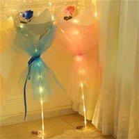 LED luminous balão rosa buquet hélio transparente balões casamento festa de aniversário 2021 feliz ano novo enfeites de natal 324 r2