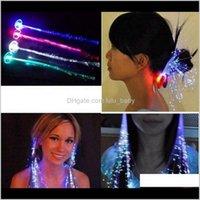Blinkendes leuchtendes Licht LED-Haarverlängerung Flash-Zopf-Party-Mädchen-Haar-Glühen von Faseroptik Weihnachten Halloween Nachtlichter Rqpal Rosu9