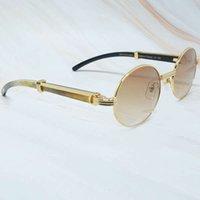 Ienbel Oval Mens Carter Solglasögon Mode Metaller Lyxig designer Trä Buffalo Hornglas Vintage Shades Buffers Retro Round Glasses