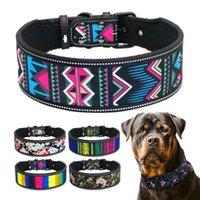 Dog Collars & Leashes Nylon Collar Reflective Pet Dogs Breathable Padded Striped Pitbull German Shepherd Medium Large S M L