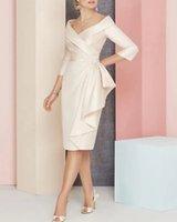 Sheath   Column Mother of the Bride Dress Plus Size V Neck Knee Length Satin 3 4 Sleeve with Sash Ribbon Ruching 2022