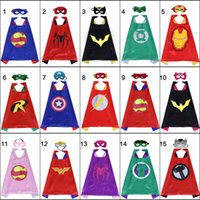 Kids Cosplay Cape Set with Felt masks Satin Halloween Costumes Double side 70*70cm Cartoon Movie Child Fancy Dress Birthday Party Favors