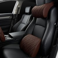 Seat Cushions Car Headrest Pillow Memory Foam Leather Embroidered Supports Sets Back Cushion Adjustment Auto Neck Rest Lumbar