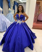 Royal Blue V neck Quinceanera Prom Dresses Ball Gown satin Rhinestones Crystal beaded Glitter Long Evening party Formal Sweet 16 Dress Vestidos 15 Anos M143
