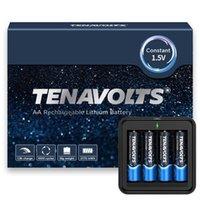 Tenavolts Batterie rechargeable au lithium de 1,5 V AA, charge rapide de 1,8H, chargeur USB, sortie constante à 1,5 V, 2775 MWh, 4 comptes avec chargeur