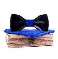 Lenço de lacaio de madeira dos homens pretos Lenço de lenço de casamento noivo bowtie bowtie bowtkots festa de casamento 3d borboleta gargalhada para homens