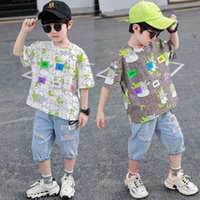 Boys Clothing Sets Boy Suits Kids Outfits Children Clothes Summer Cotton Cartoon Short Sleeve T-shirts Hole Shorts Pants Jeans Casual 2Pcs 3-8Y B5184
