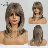 Eaton Women Light Blond Blondle Medium 길이가 가발을 강타와 함께 물결 모양의 합성 머리 가발을 코스프레 가발 내열성 섬유