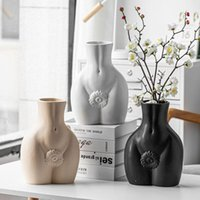 Vases Nordic Abstract Female Body Sculpture Ceramic Vase Home Decoration Accessories Living Room Dining Table Flower Arrangement