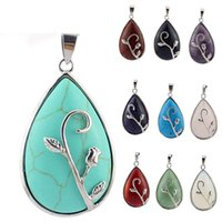 Natural Stone Water-drop Rose Blossom Women Pendant Necklace Amethyst Green Aventurine Reiki Healing Crystal Jewelry Charm Fashion Trend Hanging Accessory