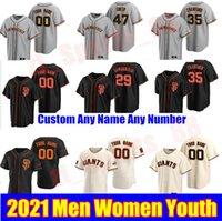 2021 SAN FRANCISCO HOMBRES Mujeres Juveniles 29 Jeff Samardzija Jerseys de béisbol Johnny Cueto Will Smith McCutchen Yastrzemski Williams Stitched Gigantes Jersey
