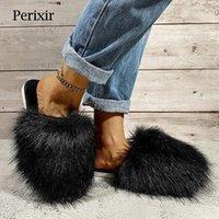 Периксир женская меховая обувь 2021 с плоским дном нескользящей шапкой носок наружный износ хлопчатобумажных тапочек комфортный теплый размер 36-41