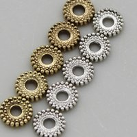 Großhandel 6mm 50pcstibetan metall spacer runde charme perlen silber gold spacer perlen fit diy armband schmuck herstellung von ergebnissen 1797 q2