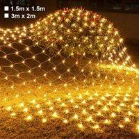 Строки светодиодные чистые сетки Струнные огни Наружные вечеринки Фея гирлянда Освещение Запиты на сад Парк Рождественские праздничные Украшения Ночной Свет