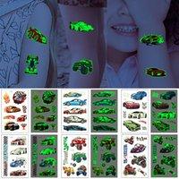 Luminous Tattoo Sticker Kids Cartoon Temporary Body Design Motorbike Automobile Race Decal Lover Fans Cool Stimulate Light in the Dark Water Transfer Paper