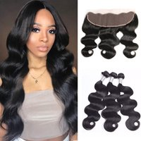 Brazilian Body Wave Human Virgin Hair Weaves with 13x4 Lace Frontal Full Head Natural Color