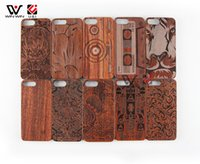 Original Cell Phone Cases U&ampI Real Natural wood with Figure Pattern Shockproof Protective Cover Case For Iphone 6 6plus 7 8