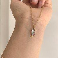 Söt enkel färg zircon liten vinge fjäderform hängande halsband trendiga kristall chaz chain choker kvinnor smycken halsband