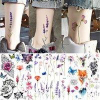 Yuran Knöchel Flora Cherry Lavender Flash Gefälschte Wasserdichte Tätowierungen Temporäre Frauen Arm Brust Tattoo Aufkleber Körperkunst Benutzerdefinierte Tatoos