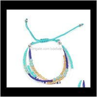 Link, Chain Bracelets Jewelrybohemian Handwoven Multi-Layer Colorful Weave Round Beaded Bracelet Retro Rice Adjustable Rope Ethnic Bangles W
