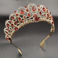Rote Königin Krone Kristall Braut Tiaras Braut Krone Barock Stirnband Hochzeit Zubehör DIAdem Haarschmuck Ornament