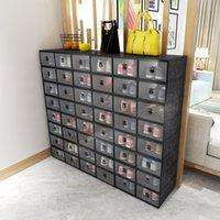 10pcs 신발 상자 세트 여러 가지 빛깔의 접이식 스토리지 플라스틱 클리어 홈 구두 랙 주최자 스택 디스플레이 상자