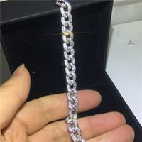 Luxury Tennis Chain bracelet Micro pave Diamond cz White Gold Filled Statement Party Wedding bracelets for women men Jewerly Gift