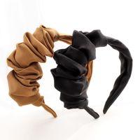 Otoño Invierno Moda Ancha Amplia Diadema Para Mujeres Color Sólido Onda Banda Cabello Diseño Creativo Diseño Plisado Headwear