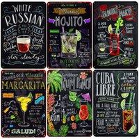 Tiki Bar Otwarty Letni Piwo Retro Metalowe Blaszane Znaki Mojito Martini Cuba Libre Koktajl Plakiet Pub Bar Art Naklejki Wall Decor N082 Q0723