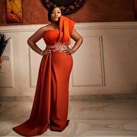 Orange Plus Size One Shoulder Evening Dresses Lace Appliques Satin Formal Special Occasion Gown Overskirt Prom Skirts Vestidos De Novia