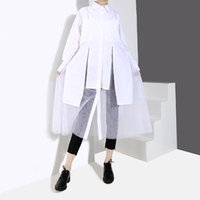 Women's Blouses & Shirts 2021 Shein Plus Size Blusa Spring And Summer Shirt Irregular Mesh Stitching In The Long Pure Color Harajuku Blouse