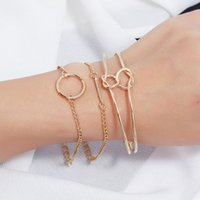 Chadestinty Cuff Bracelets Bangles For Women 3PCS Set Gold Silver Color Round Open Knotted Charm Vintage Jewelry Bangle