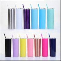 Nueva taza recta de acero inoxidable de 20 onzas 14 colores taza de agua de alambre de alambre de la taza de vacío de 20 oblas con paja de paja JU0027