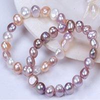 Braccialetto per le donne di modo del monili della moda delle donne del braccialetto del braccialetto del braccialetto della corda elastica della perla della perla dell acqua dolce della perla di modo naturale.