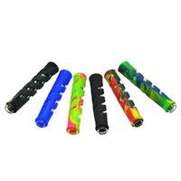 Tubi da fumo in silicone mimetico 90mm scava fuori tubo dritto vetro portatile con portasigarette colori misti GWF8179