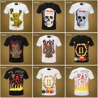 T-shirt Slim Fit Strinest SHINESTONE STRINESTONE CHEMISE DE COLLES COLLES TEE SKULLS IMPRIMER TOPS Streetwear Collier Polos M-XXXL 2014