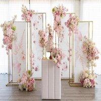 Decoração de festa 2 pçs / set) painel de casamento adereços adereços estande de flores de aço inoxidável moldura de metal dourado para casamento