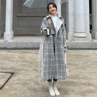 Kadın Yün Karışımları Dikiş Yün Gri Ekose Ceket Kadın Kore Versiyonu 2021 Sonbahar Kış Rahat Nazik Tüm Maç Bayan Femme