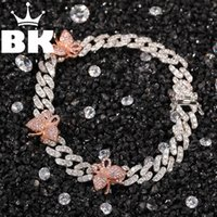 The 9mm Cuban Bracelet With Butterfly 9inch Ankle Mini Butterfly Pink Cz Punk Miami Link Bling Hip Hop Jewelry For Gift 210609