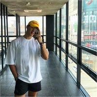Бренд простые тренажерный зал одежда фитнес мужская большая футболка на открытом воздухе хип-хоп уличная одежда свободный половина рукава футболки бодибилдинг футболка 210319