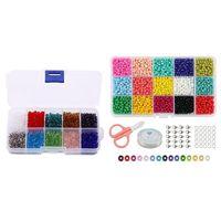 PC's Kralen: 1000 Stks DIY 4mm Facet Bicone Crystal Glass Kralen 9000 Stks Zaad 15 Multicolor Assortiment Sieraden Pouches, Tassen