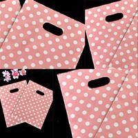 핑크 화이트 도트 플라스틱 가방 손잡이 15 * 20cm 미니 쥬얼리에 대 한 새로운 플라스틱 포장 도매 434 r2