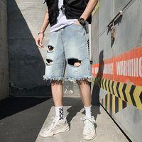 Men's Jeans Summer Hole Denim Shorts Fashion Hip Hop Pants Casual Five Straight