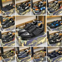 Sneaker de camouflage de qualité supérieure Mens Hommes Rivet Chaussures plate-tête Camo Camo Camo En Cuir Casual Trainers Rockrunner Chaussures