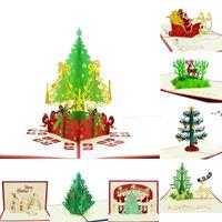 Biglietti di auguri di Natale 3D Handmade Pop-up biglietti di auguri 3D fatti a mano regalo regalo di natale cartolery carta vintage retrò Piercing Post HHD10283